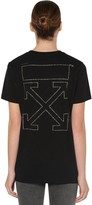 Off-White Off White Strassed Off Cotton Jersey T-shirt