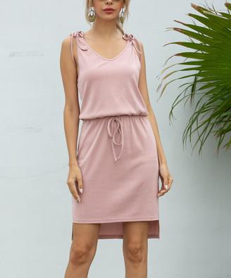 Sucrefas Women's Casual Dresses Pink - Pink V-Neck Drawstring Hi-Low Dress - Women