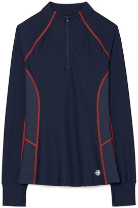 Tory Burch Contrast-Stitch Mesh Half-Zip Pullover