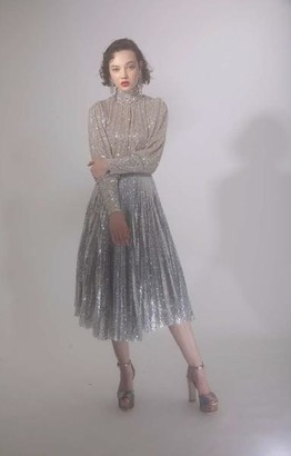 DELFI Collective The Dita Top In Silver Sequins - S