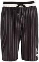 Dolce & Gabbana Long logo pinstripe board shorts