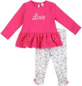 Petit Lem Pink 'Love' Lace Tunic & White Floral Bow-Hem Leggings - Infant