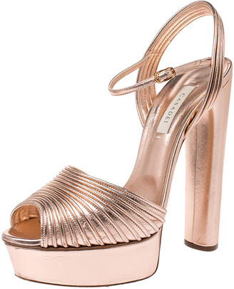Casadei Metallic Embossed Bronze Leather Piping Detail Ankle Strap Platform Sandals Size 39