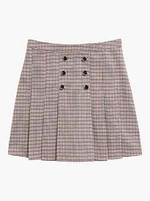 Oasis Micro Check Kilt Mini Skirt, Dark Brown