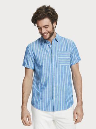 Scotch & Soda Patterned Cotton-Linen Shirt Regular fit | Men