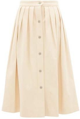 Giuliva Heritage Collection The Giovanna Pleated Denim Skirt - Cream