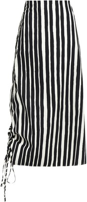 Beaufille Asymmetric Gathered Striped Cotton-poplin Midi Skirt