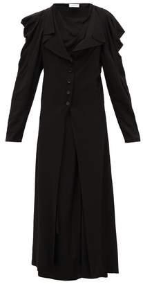 Lemaire Button Down Crepe Maxi Dress - Womens - Black
