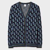 Paul Smith Men's Navy Paisley Jacquard Wool-Silk Cardigan