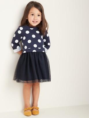 Old Navy Polka-Dot 2-in-1 Sweatshirt Tutu Dress for Toddler Girls