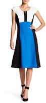 Robbie Bee Split Neck Colorblock Dress