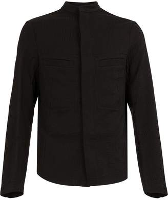UMA WANG ribbed mandarin collar shirt