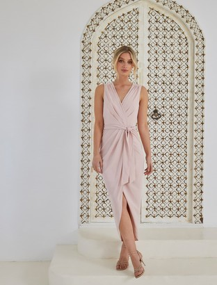 Forever New Liza Wrap Midi Dress - Nude - 4