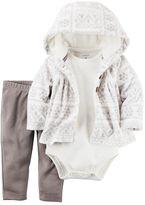 Carter's Baby Girl Printed Cardigan, Bodysuit & Pants Set