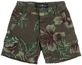 Floral Printed Cotton Cargo Shorts