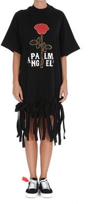 Palm Angels Rose Print Fringed T-Shirt Dress