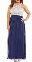 Jodi Kristopher Plus Chain-Lace Bodice Long Dress