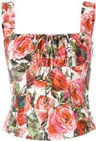 Dolce & Gabbana rose-print bodice - women - Cotton - 36