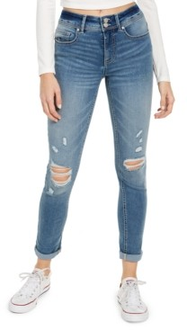 Indigo Rein Juniors' Double-Button Cuffed Skinny Jeans