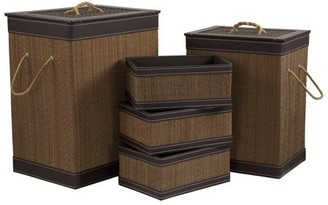 Household Essentials Bamboo and Faux Leather Hamper & Basket Set