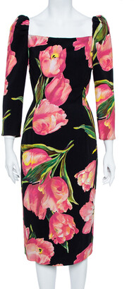 Dolce & Gabbana Black/Pink Nylon Blend Tulip Print Fitted Dress L
