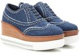 Miu Miu Platform denim Oxford shoes