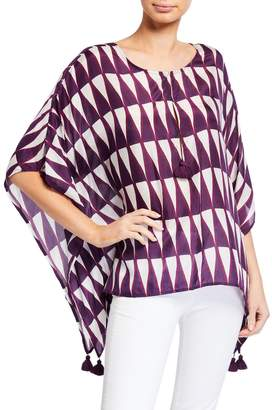 Figue Katia Triangle-Print Silk Poncho Top