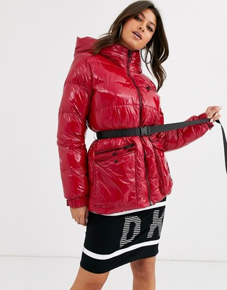 DKNY sport high shine padded jacket with belt detail and hood-Red