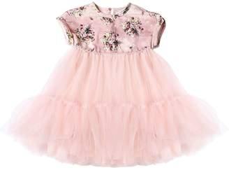 MonnaLisa Floral Velvet & Stretch Tulle Dress