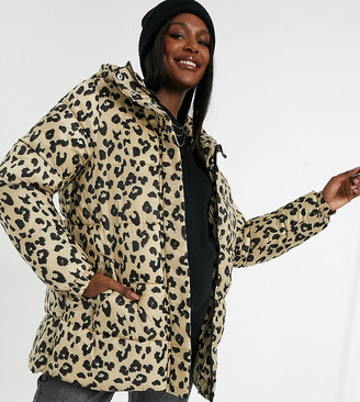 Pieces Maternity padded coat with belted waist in leopard
