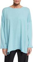 eskandar Long Bateau-Neck Cashmere Sweater, Aqua