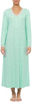 Jasmine Rose Lace-Trimmed Printed Nightgown