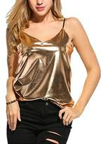 Xara Women's Sexy V-Neck Spaghetti Strap Wet Look Vest Clubwear Tank Tops (L, )