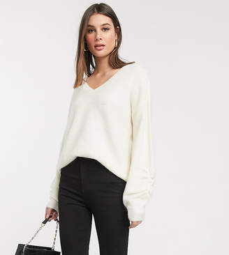 Vero Moda Tall tall jumper with v neck and sleeve detail in cream