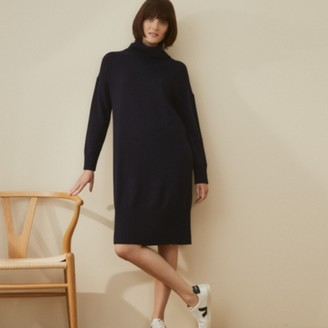The White Company Wool-Cotton Roll-Neck Knitted Dress, Navy, 6
