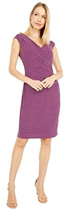 Lauren Ralph Lauren Brandie Cap Sleeve Day Dress (Exotic Ruby/Port Blue/Sparkling Champagne) Women's Dress
