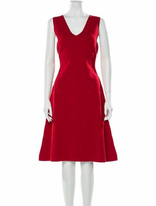 Narciso Rodriguez V-Neck Knee-Length Dress w/ Tags Red