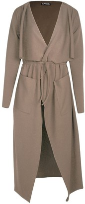 Fashion Star Womens Belted Wrap Over Pocket Duster Trench Coat Midi Len Long Cardigan