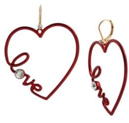 Betsey Johnson Scripted Heart Drop Earrings