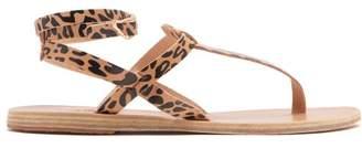 Ancient Greek Sandals Estia Leopard Print Leather Sandals - Womens - Black Tan