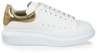 Alexander McQueen Men's Oversized Metallic Leather Flatform Sneakers