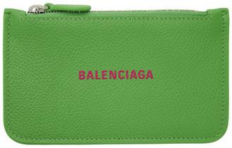 Balenciaga Green Cash Zip Card Holder