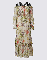 M&S Collection Floral Print Ruffle Sleeve Maxi Dress