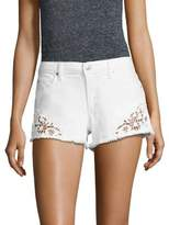 Joe's Jeans Embroidered Frayed Denim Shorts