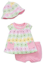 Offspring Babys Three-Piece Hat, Dress and Bloomers Set
