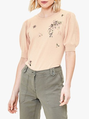 Oasis Embroidered Jumper, Pale Pink