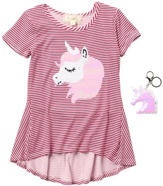 Btween Short Sleeve Brushed ITY Knit Unicorn Print High/Low Top (Little Girls)
