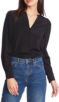 1 STATE Dot Jacquard Button Front Top