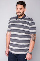 Yours Clothing BadRhino Navy & Grey Marl Stripe Polo Shirt