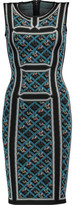 Herve Leger Tanya Intarsia Stretch-Knit Mini Dress